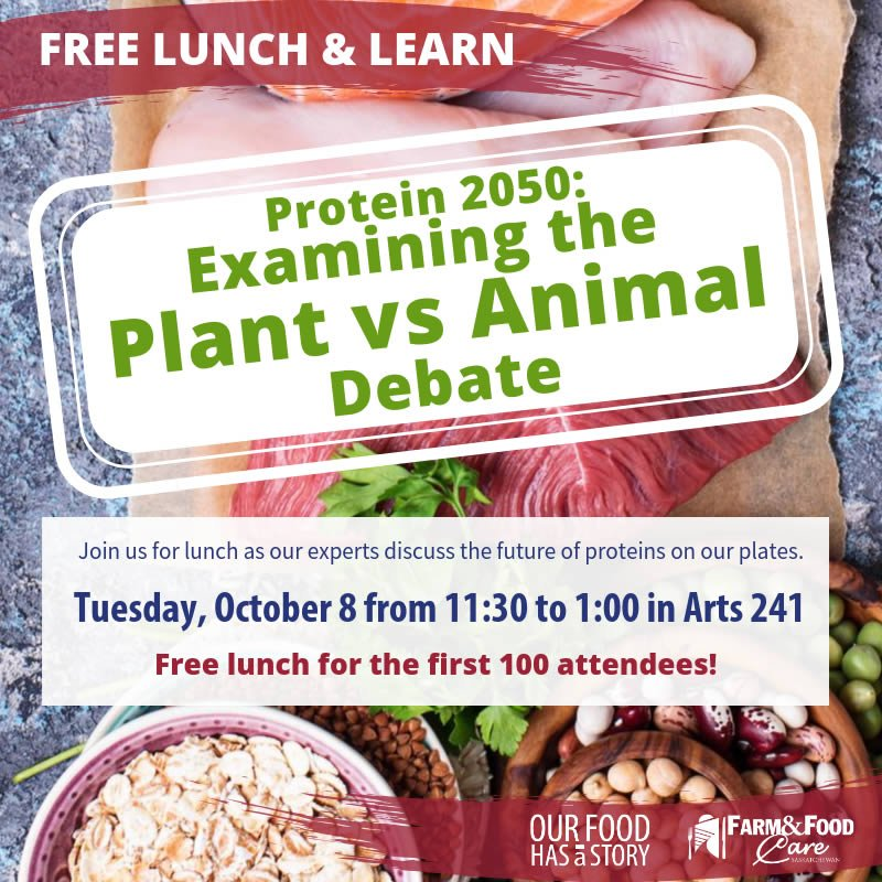 Protein 2050: Examining the Plant vs Animal Debate Free Lunch & Learn at uSask!