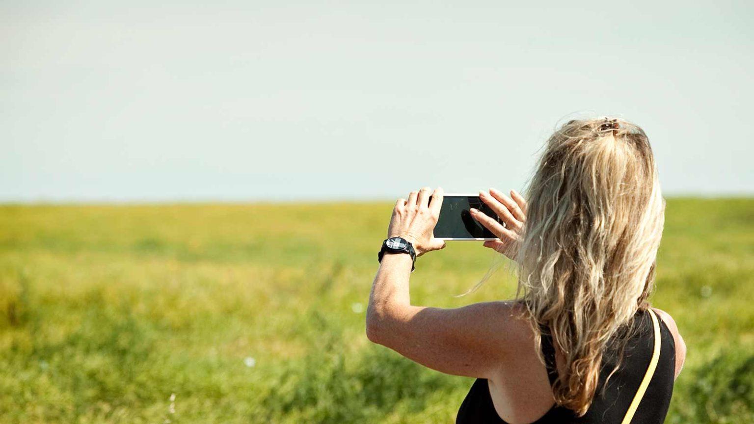 taking photo of crop